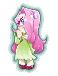 Size: 615x800   Tagged: safe, artist:wedjat_art, fluttershy, human, breasts, cleavage, clothes, cute, digital art, dress, female, hair over one eye, heart eyes, humanized, shyabetes, simple background, solo, transparent background, vector, wingding eyes
