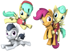 Size: 1280x923 | Tagged: safe, artist:pika-robo, barley barrel, pickle barrel, rumble, scootaloo, 3d, assisted flying, barrel twins, brother and sister, colt, female, filly, flying, foal, friendshipping, male, siblings, simple background, source filmmaker, transparent background, twins