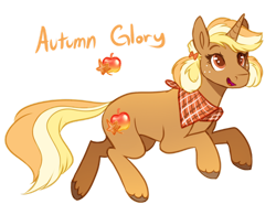 Size: 1280x996 | Tagged: safe, artist:amiookamiwolf, oc, oc:autumn glory, pony, unicorn, female, mare, offspring, parent:applejack, parent:trenderhoof, parents:trenderjack, simple background, solo, transparent background