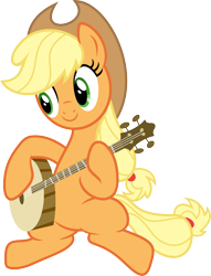 Size: 6869x9000 | Tagged: safe, artist:korsoo, applejack, earth pony, pony, pinkie apple pie, applejack's hat, banjo, cowboy hat, cute, female, happy, hat, jackabetes, mare, musical instrument, playing instrument, simple background, sitting, smiling, solo, transparent background, vector
