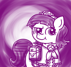 Size: 640x600 | Tagged: safe, artist:ficficponyfic, part of a set, oc, oc only, oc:mulberry telltale, cyoa:madness in mournthread, aside glance, bag, boots, cheeky pony, clothes, cyoa, dress, ears up, flower, headband, monochrome, mystery, neckerchief, one brow down, one eyebrow lowered, part of a series, shawl, shoes, smiling, story included