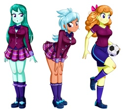 Size: 977x864 | Tagged: safe, artist:the-butch-x, editor:thomasfan45, cold forecast, frosty orange, orange sherbette, human, equestria girls, :o, beautiful, blouse, bow, bowtie, breasts, busty cold forecast, busty frosty orange, busty orange sherbette, clothes, collarbone, crystal prep academy students, crystal prep academy uniform, cute, description is relevant, female, football, hair bow, legs, looking at you, looking to side, open mouth, plaid skirt, pleated skirt, raised leg, school uniform, sexy, shirt, shoes, shorts, simple background, skirt, smiling, sneakers, soccer shoes, socks, sports, sports shoes, sports shorts, surprised, t-shirt, transparent background, trio, trio female