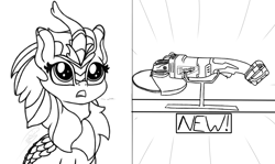 Size: 2020x1200 | Tagged: safe, artist:soctavia, cinder glow, summer flare, kirin, angle grinder, big eyes, dialogue, female, in awe, mare, marewaukee, open mouth, power tools, sketch, solo, want, wip, woah