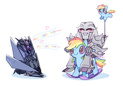 Size: 1000x700 | Tagged: safe, artist:iwato, rainbow dash, crossover, decepticon, megatron, music notes, pixiv, singing, soundwave, theme song