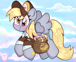 Size: 3687x3002 | Tagged: safe, artist:bunxl, derpy hooves, pegasus, blushing, female, flying, hat, heart eyes, mailbag, mailmare, mailmare hat, mailmare uniform, mare, package, smiling, solo, wingding eyes