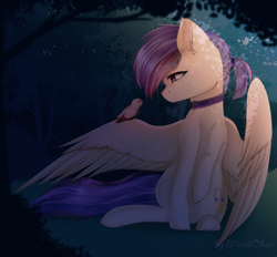 Size: 1600x1487 | Tagged: safe, artist:miralichan, oc, oc only, oc:evensong, pegasus, pony, collar, commission, female, forest, outdoors, solo, spread wings, wings, ych result