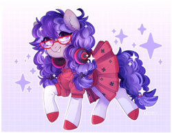 Size: 2850x2202 | Tagged: safe, artist:whiteliar, oc, oc only, oc:cinnabyte, adorkable, clothes, commission, cute, dork, dress, gaming headset, glasses, headphones, headset, smiling, sparkles
