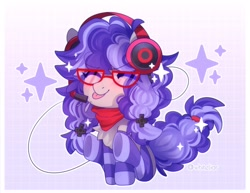 Size: 2850x2202 | Tagged: safe, artist:whiteliar, oc, oc only, oc:cinnabyte, :p, adorkable, bandana, blepping, chibi, clothes, cute, dork, gaming headset, glasses, headphones, headset, socks, striped socks, tongue out