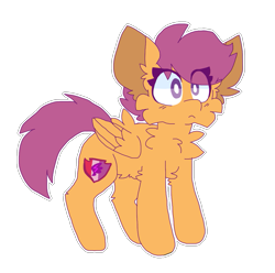 Size: 1089x1080   Tagged: safe, artist:dazzledoves, scootaloo, pegasus, pony, cheek fluff, chest fluff, cutie mark, female, fluffy, simple background, solo, transparent background, wings