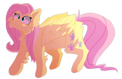 Size: 1558x1004   Tagged: safe, artist:dazzledoves, fluttershy, pegasus, pony, cheek fluff, chest fluff, cutie mark, female, fluffy, simple background, solo, transparent background, wings