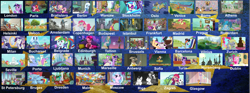 Size: 2500x934 | Tagged: safe, artist:rapmlpandbttffan23, screencap, all aboard, apple bloom, autumn blaze, big macintosh, cup cake, derpy hooves, dj pon-3, doctor caballeron, fluttershy, gabby, gallus, linky, maud pie, moonlight raven, pinkie pie, princess celestia, rainbow dash, rarity, shoeshine, silverstream, smolder, spike, spirit of hearth's warming presents, star swirl the bearded, sugar belle, sunset shimmer, tender taps, trixie, twilight sparkle, valley glamour, vinyl scratch, yona, alicorn, cow, dragon, pony, a hearth's warming tail, campfire tales, equestria girls, fake it 'til you make it, my little pony: the movie, on your marks, rainbow roadtrip, school daze, sounds of silence, sparkle's seven, spring breakdown, surf and/or turf, the cutie pox, the fault in our cutie marks, the point of no return, the saddle row review, too many pinkie pies, alternate hairstyle, apple, apple tree, boat, bridge, canoe, castle of the royal pony sisters, clock tower, coffee, collage, crystal empire, equestria girls ponified, female, fine art parody, fountain, helmet, hipstershy, intertwined trees, lifejacket, male, meme, pear tree, ponified, ponyville, shipping, straight, sugarmac, sunglasses, tree, twilight sparkle (alicorn), windmill, winged spike