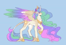 Size: 2246x1559 | Tagged: safe, artist:dazzledoves, princess celestia, alicorn, pony, blue background, chest fluff, coat markings, colored wings, crown, dappled, ear fluff, female, hoof shoes, jewelry, leg fluff, leonine tail, mare, multicolored wings, pale belly, regalia, simple background, solo, spread wings, tail fluff, unshorn fetlocks, wings