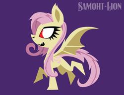 Size: 3300x2550 | Tagged: safe, artist:samoht-lion, fluttershy, bat pony, pony, bat ponified, chibi, cute, flutterbat, purple background, race swap, shyabates, shyabetes, simple background, style