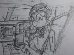 Size: 680x505   Tagged: safe, artist:buckweiser, fluttershy, b-2 spirit, clothes, cockpit, female, fighter pilot, flight suit, pilot, sketch, smiling, solo, stealth bomber, traditional art