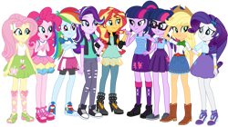 Size: 1024x574 | Tagged: safe, artist:emeraldblast63, applejack, fluttershy, pinkie pie, rainbow dash, rarity, sci-twi, starlight glimmer, sunset shimmer, twilight sparkle, alicorn, equestria girls, beanie, boots, clothes, converse, feet, female, glasses, hat, humane five, humane seven, humane six, redesign, shoes, simple background, skirt, tanktop, transparent background, twilight sparkle (alicorn), twolight