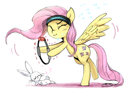 Size: 1656x1200 | Tagged: safe, artist:nendo, angel bunny, fluttershy, pegasus, pony, rabbit, :t, animal, cute, eyes closed, hoof hold, nintendo switch, onomatopoeia, ring fit adventure, simple background, sleeping, sound effects, spread wings, sweat, white background, wings, zzz