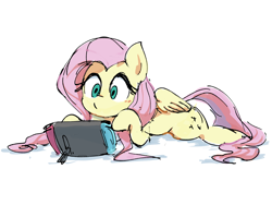 Size: 1600x1200 | Tagged: safe, artist:nendo, fluttershy, pegasus, pony, colored, colored sketch, console, cute, female, gaming, lying down, mare, nintendo, nintendo switch, shyabetes, simple background, solo, white background