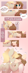 Size: 2500x6500   Tagged: safe, artist:kebchach, oc, oc:celia montigre, earth pony, pegasus, pony, comic, drool, drool string, kissing, whispering