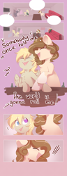 Size: 2500x6500 | Tagged: safe, artist:kebchach, oc, oc:celia montigre, earth pony, pegasus, pony, bottle, comic, couch, karaoke, singing, somebody once told me