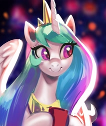 Size: 2121x2500 | Tagged: safe, artist:eustac3, artist:vradurenu, princess celestia, alicorn, pony, abstract background, cup, cute, cutelestia, eye clipping through hair, female, jewelry, looking to side, mare, regalia, smiling, solo