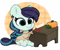 Size: 1672x1400   Tagged: safe, artist:kittyrosie, coloratura, earth pony, pony, chibi, clothes, cute, ear piercing, earring, female, jewelry, leaf, mare, musical instrument, piano, piercing, playing, pumpkin, rarabetes, solo, sweater