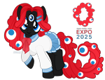 Size: 5000x3846 | Tagged: safe, artist:jennieoo, oc, oc only, oc:koroshite-chan, earth pony, pony, clothes, expo 2025, eyes do not belong there, female, japanese school uniform, koroshite-kun, ponified, school uniform, simple background, solo, third eye, transparent background, vector