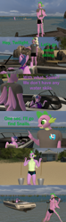 Size: 1920x6480 | Tagged: safe, artist:papadragon69, spike, starlight glimmer, sunburst, twilight sparkle, anthro, 3d, bikini, boat, bucket, clothes, comic, ocean, old master q, parody, reference, skiing, source filmmaker, swimming trunks, swimsuit, water
