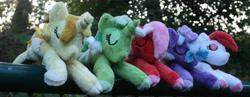 Size: 3172x1232   Tagged: safe, artist:bastler, oc, oc only, oc:comment, oc:downvote, oc:favourite, oc:hide image, oc:upvote, alicorn, earth pony, pegasus, pony, unicorn, derpibooru, alicorn oc, derpibooru ponified, earth pony oc, eyes closed, female, horn, irl, jewelry, mare, meta, necklace, pegasus oc, photo, plushie, ponified, sleeping, unicorn oc, wings