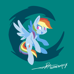 Size: 1224x1224 | Tagged: safe, artist:supermoix, rainbow dash, pegasus, pony, abstract background, cute, dashabetes, featured image, female, flying, lineless, mare, open mouth, signature, simple background, solo, sweet dreams fuel, teal background