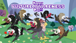 Size: 1280x719 | Tagged: safe, artist:andoanimalia, artist:mlp-vector-collabs, grampa gruff, bird, buzzard, griffon, vulture, field, male, meadow, vulture awareness day
