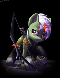 Size: 2300x3000 | Tagged: safe, artist:shido-tara, oc, oc:sagittarius zodiac, pony, unicorn, fallout equestria, fallout equestria: project horizons, arrow, bow, clothes, fanfic art, glowing horn, horn, magic, magic aura, simple background