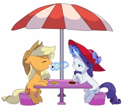 Size: 4096x3571 | Tagged: safe, alternate version, artist:chub-wub, applejack, rarity, earth pony, pony, unicorn, alternate hairstyle, apple, applejack's hat, background removed, bedroom eyes, cake, cowboy hat, eating, eyeshadow, female, food, fork, freckles, glowing horn, hat, herbivore, horn, lesbian, magic, makeup, mare, open mouth, plate, rarijack, shipping, simple background, stool, strawberry, sun hat, table, telekinesis, umbrella, white background