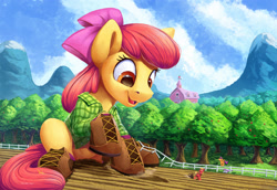 Size: 3000x2063 | Tagged: safe, artist:tsitra360, apple bloom, applejack, big macintosh, scootaloo, sweetie belle, earth pony, pegasus, pony, unicorn, adorabloom, apple, apple tree, applebutt, boots, brother and sister, butt, clothes, cute, cutie mark crusaders, female, fence, filly, flannel, giant earth pony, giant pony, high res, macro, male, open mouth, scenery, shirt, shoes, siblings, sisters, sitting, smiling, stallion, sweet apple acres, tree