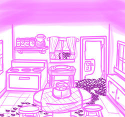 Size: 640x600   Tagged: safe, artist:ficficponyfic, part of a set, oc, oc only, oc:mulberry telltale, cyoa:madness in mournthread, curtains, cyoa, flower, headband, insect swarm, insect trail, jar, kitchen, looking through the window, magical insect, monochrome, mystery, ovon, part of a series, peaking, peeping, stools, story included, stove, table