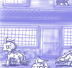 Size: 640x600   Tagged: safe, artist:ficficponyfic, part of a set, oc, oc only, oc:mulberry telltale, merpony, monster pony, cyoa:madness in mournthread, bush, cyoa, fin, fish tail, flower, headband, monochrome, neckerchief, peeking, scales, sharp teeth, story included, street, teeth, transformed, watching, window