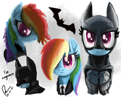 Size: 1280x1024 | Tagged: safe, artist:raphaeldavid, rainbow dash, autodesk sketchbook, batarang, batman, batmare, business suit, clothes, quote, serious, sketch, sketch dump, the batman (2021)