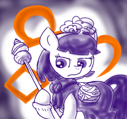 Size: 640x600 | Tagged: safe, artist:ficficponyfic, part of a set, oc, oc only, oc:mulberry telltale, cyoa:madness in mournthread, bag, boots, cyoa, ears up, flower, frown, glare, gripping pole, headband, horn staff, magic runes, magic staff, neckerchief, polearm, shawl, shoes, staff, story included