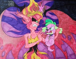 Size: 2048x1598   Tagged: safe, artist:malevolentsamson, spike, sunset shimmer, demon, dog, equestria girls, equestria girls (movie), angry, commission, devil, holding, pencil drawing, request, sharp teeth, shedemon, spike the dog, sunset satan, teeth, traditional art, wings