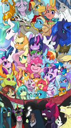 Size: 847x1514 | Tagged: safe, artist:inspectorvalvert, adagio dazzle, angel bunny, apple bloom, applejack, derpy hooves, discord, dj pon-3, doctor whooves, flash magnus, fluttershy, gallus, king sombra, lord tirek, meadowbrook, mistmane, ocellus, pinkie pie, pony of shadows, princess cadance, princess celestia, princess flurry heart, princess luna, queen chrysalis, rainbow dash, rarity, rockhoof, sandbar, scootaloo, shining armor, silverstream, smolder, somnambula, spike, star swirl the bearded, starlight glimmer, sunset shimmer, sweetie belle, tempest shadow, thorax, time turner, trixie, twilight sparkle, vinyl scratch, yona, alicorn, centaur, changedling, changeling, changeling queen, classical hippogriff, draconequus, earth pony, griffon, hippogriff, pegasus, pony, rabbit, siren, unicorn, yak, mlp fim's tenth anniversary, angel is a bunny bastard, angry, animal, applejack's hat, beak, broken horn, clothes, colored pupils, colored sclera, cowboy hat, crown, curved horn, cutie mark crusaders, dark, egyptian pony, everypony, eyes closed, fangs, featured image, female, fins, glasses, glowing eyes, gritted teeth, happy, happy birthday mlp:fim, hat, hero, horn, jewelry, king thorax, large group, male, mane seven, mane six, mare, nose piercing, nose ring, one eye closed, open mouth, piercing, pillars of equestria, regalia, royal family, royal sisters, scales, scepter, sisters, slit eyes, stallion, student six, tail, tongue out, trixie's hat, twilight scepter, wall of tags, wings