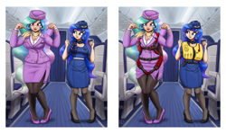 Size: 4500x2677 | Tagged: safe, artist:king-kakapo, princess celestia, princess luna, human, airline, breasts, busty princess celestia, busty princess luna, cleavage, clothes, commission, dress, duo, duo female, female, flight attendant, hat, high heels, humanized, lifejacket, pantyhose, parachute, scarf, shoes, side slit, skirt, skirt lift, skirt suit, stewardess, suit