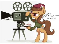 Size: 3000x2250 | Tagged: safe, artist:musical ray, oc, oc only, oc:freshy peach, earth pony, pony, clothes, female, film, mare, shooting, simple background, solo, standing, white background