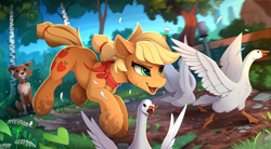 Size: 2300x1270 | Tagged: safe, artist:yakovlev-vad, applejack, winona, bird, dog, earth pony, goose, pony, :i, action pose, appledog, bandana, behaving like a dog, chase, cheek fluff, chest fluff, dirt, dirty, ear fluff, excitement, feather, female, fluffy, forest, glare, hatless, hoof fluff, leg fluff, mare, missing accessory, mud, muddy hooves, open mouth, running, shoulder fluff, smiling, smirk, spread wings, teaching, tree, wings