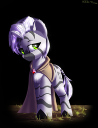 Size: 2300x3000 | Tagged: safe, artist:shido-tara, oc, oc only, oc:scorpio zodiac, zebra, fallout equestria, fallout equestria: project horizons, clothes, fanfic art, simple background
