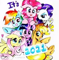 Size: 2291x2322 | Tagged: safe, artist:liaaqila, applejack, fluttershy, pinkie pie, rainbow dash, rarity, twilight sparkle, alicorn, butterfly, earth pony, pegasus, pony, unicorn, 2021, cowboy hat, cute, female, hat, heart, mane six, mare, marker drawing, new year, simple background, traditional art, twilight sparkle (alicorn), white background