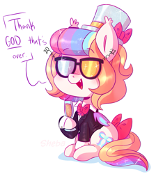 Size: 1013x1132 | Tagged: safe, artist:awoomarblesoda, oc, oc only, oc:frosting, bat pony, pony, 2021, bow, bowtie, champagne glass, clothes, female, happy new year, happy new year 2021, hat, holiday, mare, new year, open mouth, simple background, sitting, smiling, solo, suit, sunglasses, tail bow, top hat, white background