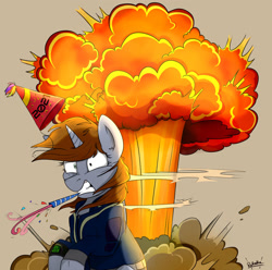 Size: 1280x1272 | Tagged: safe, artist:rutkotka, oc, oc only, oc:littlepip, pony, unicorn, fallout equestria, 2021, commission, explosion, female, hat, mare, mouth hold, new year, party hat, solo