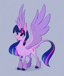 Size: 1000x1181 | Tagged: safe, artist:probablyfakeblonde, part of a set, twilight sparkle, alicorn, pony, alternate design, cloven hooves, female, leonine tail, mare, simple background, smiling, solo, spread wings, twilight sparkle (alicorn), wings