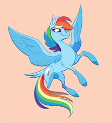 Size: 1000x1099 | Tagged: safe, artist:probablyfakeblonde, part of a set, rainbow dash, pegasus, pony, alternate design, colored pupils, female, flying, mare, simple background, smiling, solo, spread wings, tail feathers, tan background, wings