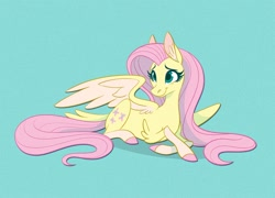 Size: 1390x1000 | Tagged: safe, artist:probablyfakeblonde, part of a set, fluttershy, pegasus, pony, alternate design, coat markings, colored hooves, cute, ear fluff, elbow fluff, female, head turn, lying down, mare, prone, shyabetes, simple background, smiling, socks (coat markings), solo, spread wings, tail feathers, two toned wings, wings