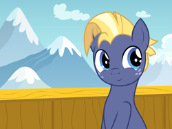 Size: 2775x2081 | Tagged: safe, artist:badumsquish, derpibooru exclusive, star tracker, earth pony, pony, once upon a zeppelin, airship, cloud, cute, fog, freckles, looking back, male, mountain, mountain range, photo, pose, show accurate, sky, smiling, solo, stallion, trackerbetes, zeppelin